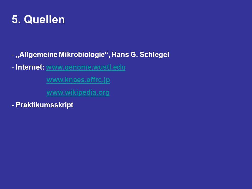 5. Quellen - Allgemeine Mikrobiologie, Hans G. Schlegel - Internet: www.genome.wustl.eduwww.genome.wustl.edu www.knaes.affrc.jp www.wikipedia.org - Pr