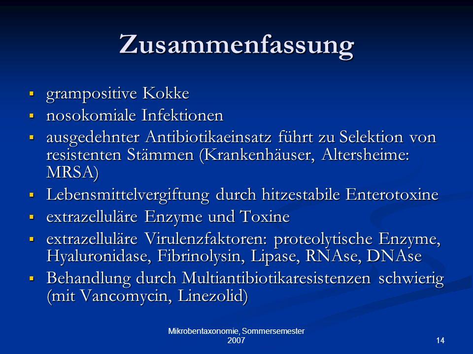 14 Mikrobentaxonomie, Sommersemester 2007 Zusammenfassung grampositive Kokke grampositive Kokke nosokomiale Infektionen nosokomiale Infektionen ausged