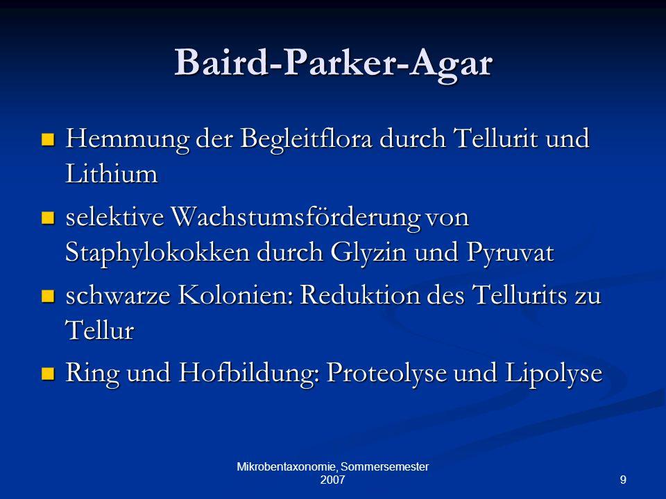 9 Mikrobentaxonomie, Sommersemester 2007 Baird-Parker-Agar Hemmung der Begleitflora durch Tellurit und Lithium Hemmung der Begleitflora durch Tellurit