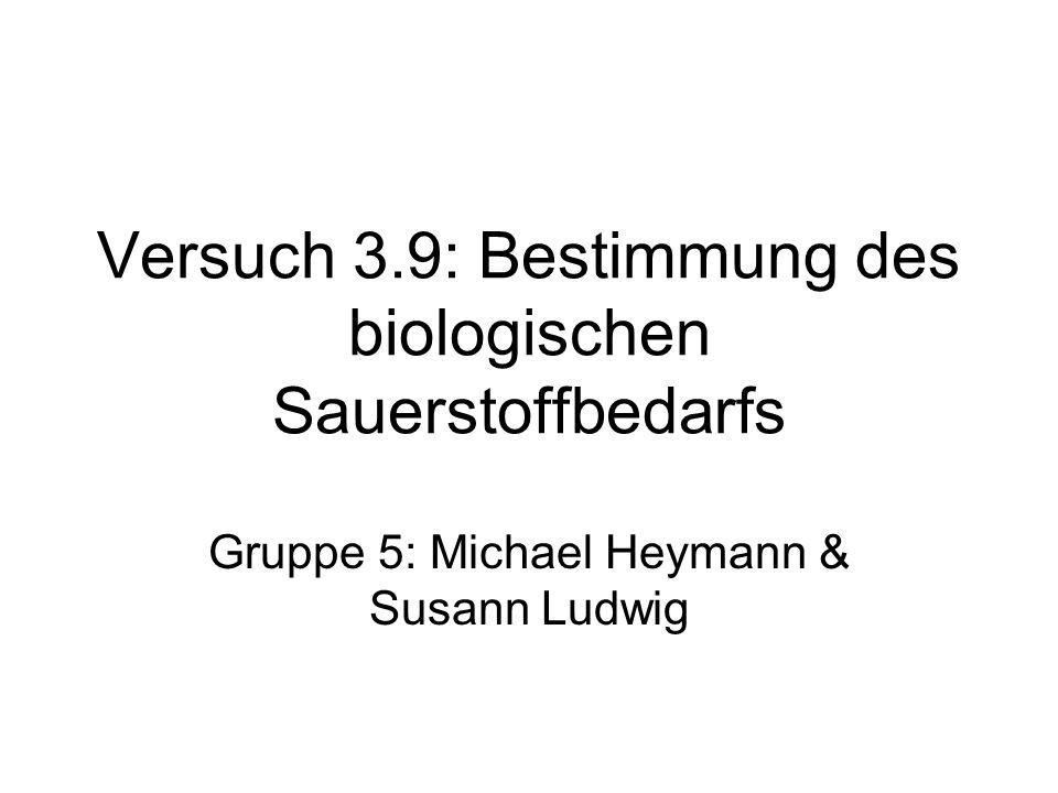 Versuch 3.9: Bestimmung des biologischen Sauerstoffbedarfs Gruppe 5: Michael Heymann & Susann Ludwig