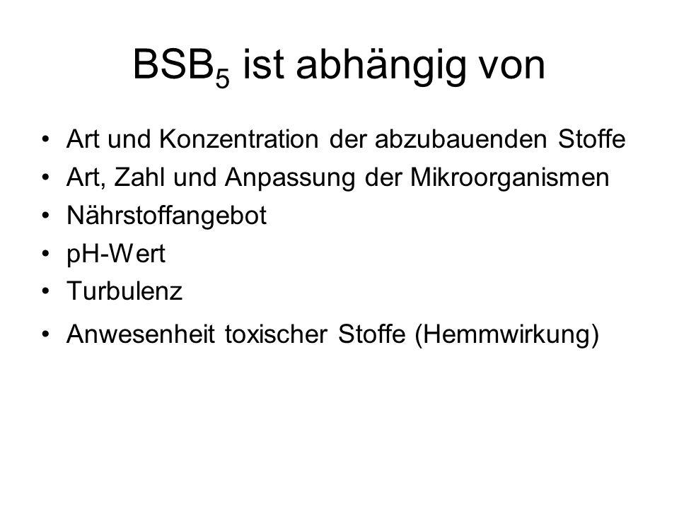 BSB 5 ist abhängig von Art und Konzentration der abzubauenden Stoffe Art, Zahl und Anpassung der Mikroorganismen Nährstoffangebot pH-Wert Turbulenz An