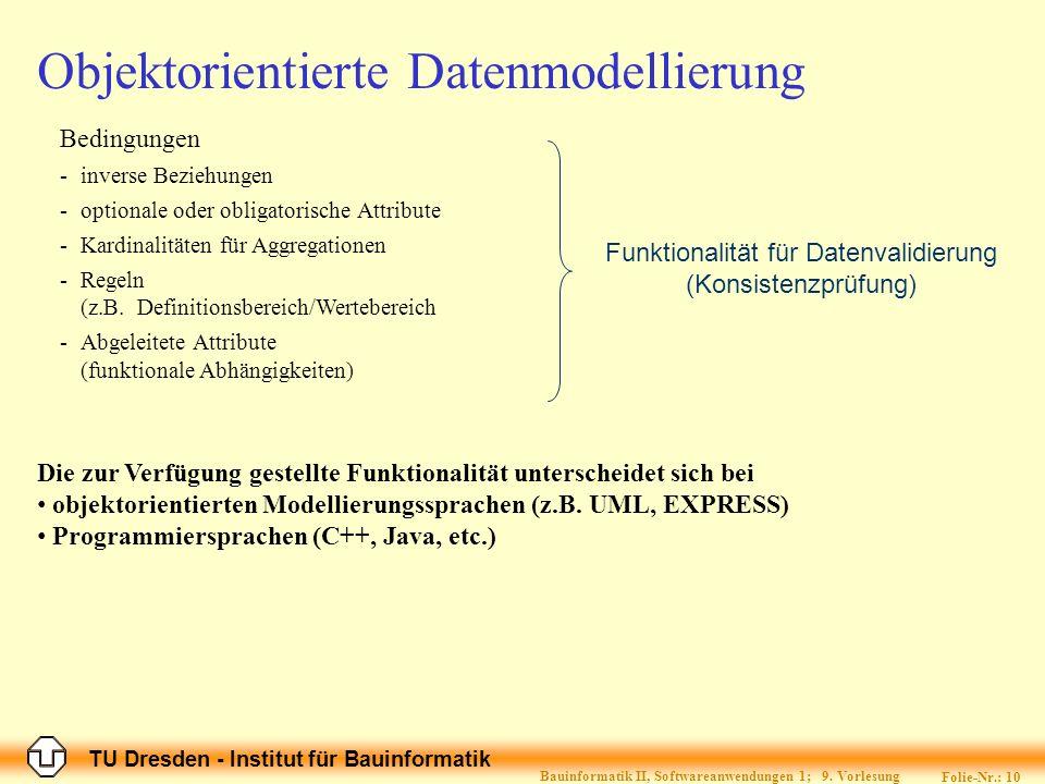 TU Dresden - Institut für Bauinformatik Folie-Nr.: 11 Bauinformatik II, Softwareanwendungen 1; 9.