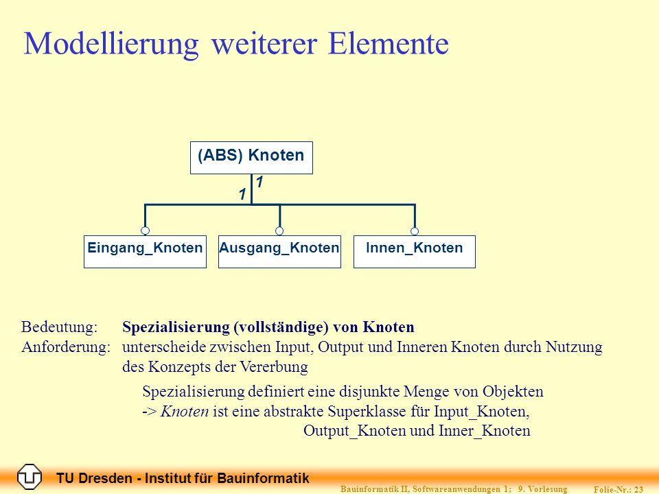 TU Dresden - Institut für Bauinformatik Folie-Nr.: 24 Bauinformatik II, Softwareanwendungen 1; 9.