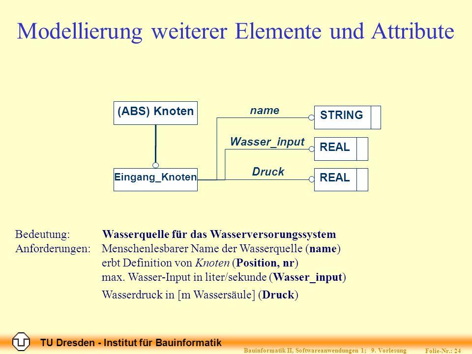 TU Dresden - Institut für Bauinformatik Folie-Nr.: 25 Bauinformatik II, Softwareanwendungen 1; 9.
