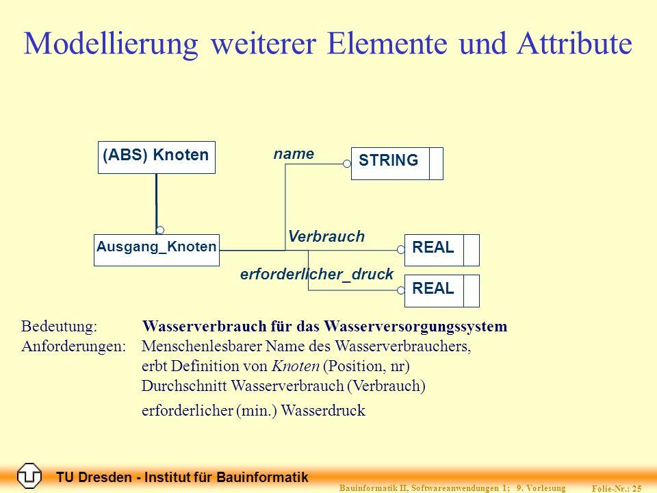 TU Dresden - Institut für Bauinformatik Folie-Nr.: 26 Bauinformatik II, Softwareanwendungen 1; 9.