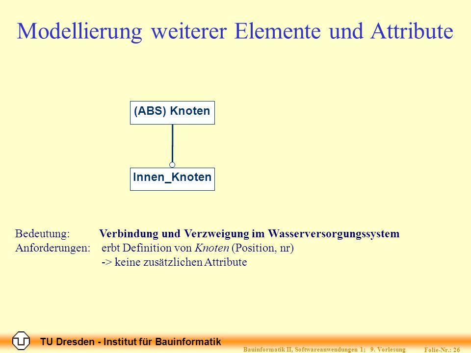 TU Dresden - Institut für Bauinformatik Folie-Nr.: 27 Bauinformatik II, Softwareanwendungen 1; 9.