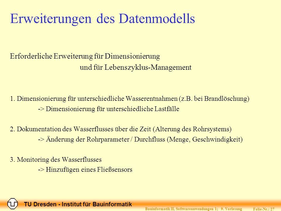 TU Dresden - Institut für Bauinformatik Folie-Nr.: 28 Bauinformatik II, Softwareanwendungen 1; 9.