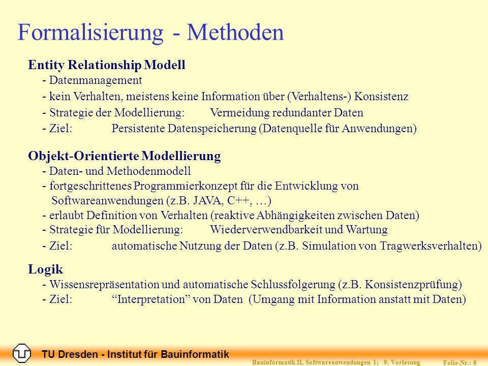 TU Dresden - Institut für Bauinformatik Folie-Nr.: 9 Bauinformatik II, Softwareanwendungen 1; 9.