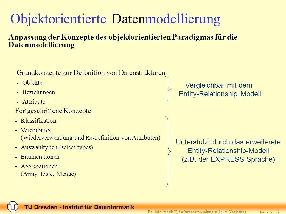 TU Dresden - Institut für Bauinformatik Folie-Nr.: 10 Bauinformatik II, Softwareanwendungen 1; 9.