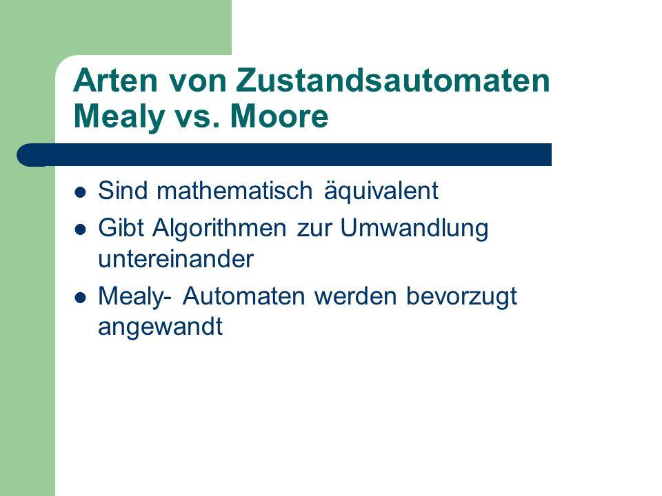 Arten von Zustandsautomaten Mealy vs. Moore Sind mathematisch äquivalent Gibt Algorithmen zur Umwandlung untereinander Mealy- Automaten werden bevorzu