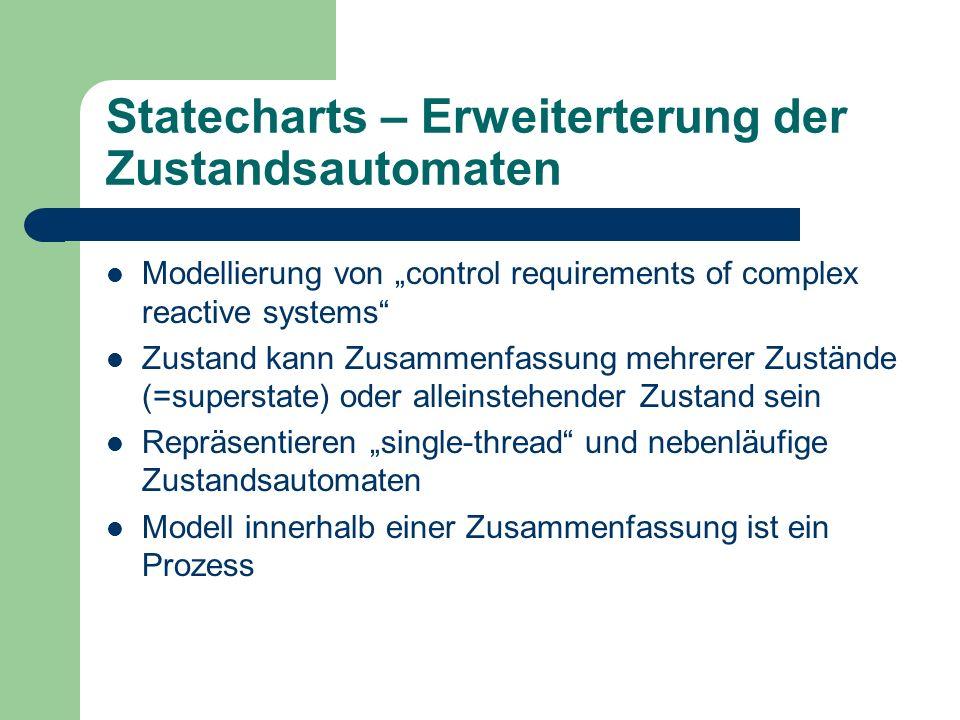 Statecharts – Erweiterterung der Zustandsautomaten Modellierung von control requirements of complex reactive systems Zustand kann Zusammenfassung mehr