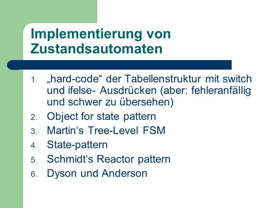 Implementierung von Zustandsautomaten 1. hard-code der Tabellenstruktur mit switch und ifelse- Ausdrücken (aber: fehleranfällig und schwer zu übersehe