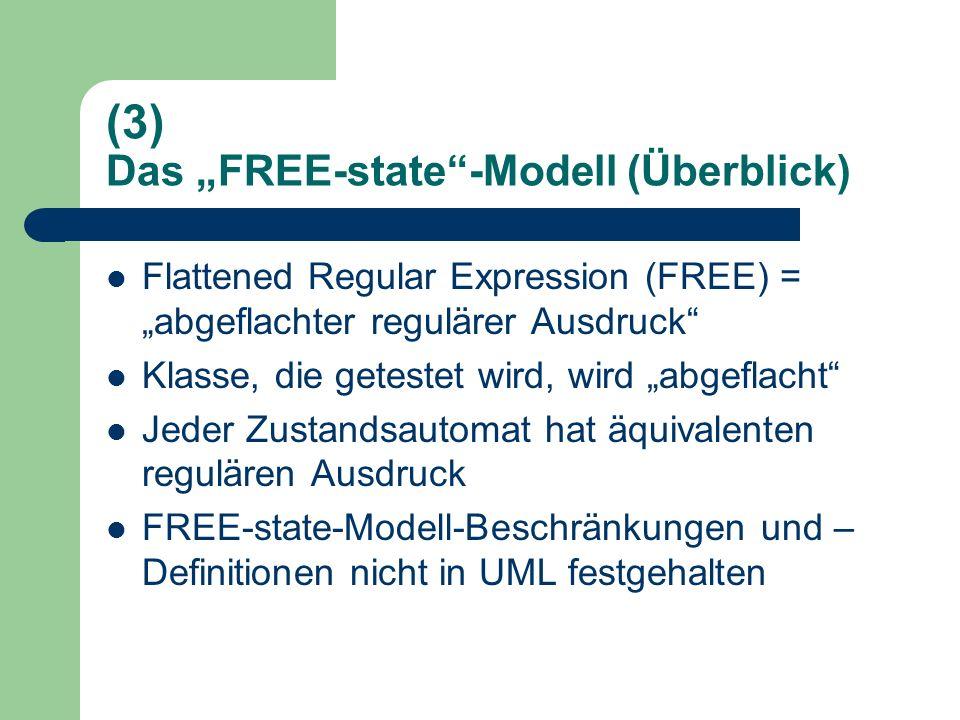 (3) Das FREE-state-Modell (Überblick) Flattened Regular Expression (FREE) = abgeflachter regulärer Ausdruck Klasse, die getestet wird, wird abgeflacht