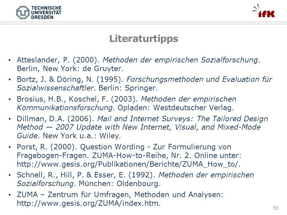 56 Literaturtipps Atteslander, P. (2000). Methoden der empirischen Sozialforschung. Berlin, New York: de Gruyter. Bortz, J. & Döring, N. (1995). Forsc