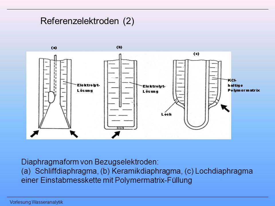 Vorlesung Wasseranalytik Referenzelektroden (2) Diaphragmaform von Bezugselektroden: (a)Schliffdiaphragma, (b) Keramikdiaphragma, (c) Lochdiaphragma e