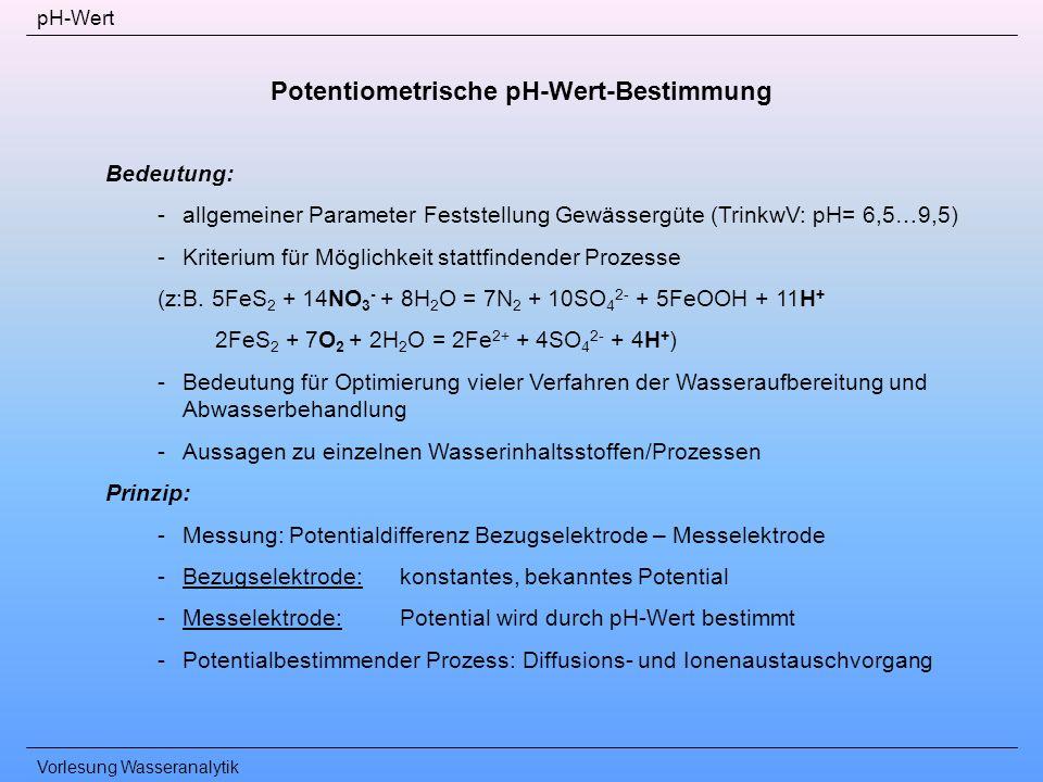 Vorlesung Wasseranalytik pH-Wert Potentiometrische pH-Wert-Bestimmung Bedeutung: -allgemeiner Parameter Feststellung Gewässergüte (TrinkwV: pH= 6,5…9,