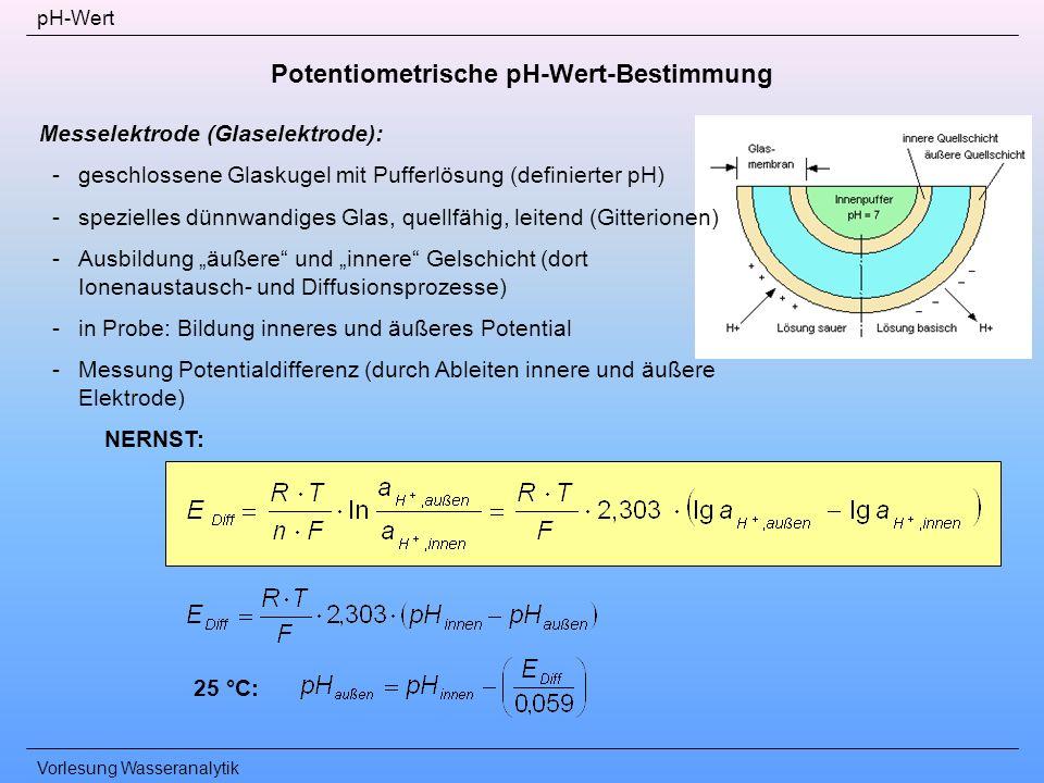 Vorlesung Wasseranalytik pH-Wert Potentiometrische pH-Wert-Bestimmung Messelektrode (Glaselektrode): -geschlossene Glaskugel mit Pufferlösung (definie