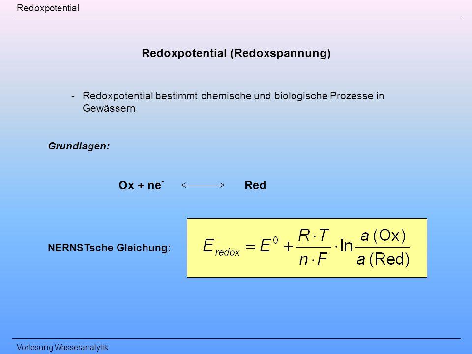 Vorlesung Wasseranalytik Redoxpotential Redoxpotential (Redoxspannung) -Redoxpotential bestimmt chemische und biologische Prozesse in Gewässern Grundl