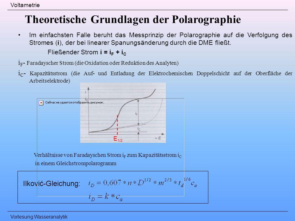Vorlesung Wasseranalytik Voltametrie Theoretische Grundlagen der Polarographie Im einfachsten Falle beruht das Messprinzip der Polarographie auf die V