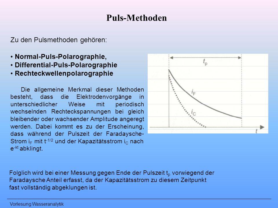 Vorlesung Wasseranalytik Puls-Methoden Zu den Pulsmethoden gehören: Normal-Puls-Polarographie, Differential-Puls-Polarographie Rechteckwellenpolarogra