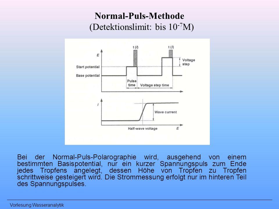 Vorlesung Wasseranalytik Normal-Puls-Methode (Detektionslimit: bis 10 -7 M) Bei der Normal-Puls-Polarographie wird, ausgehend von einem bestimmten Bas