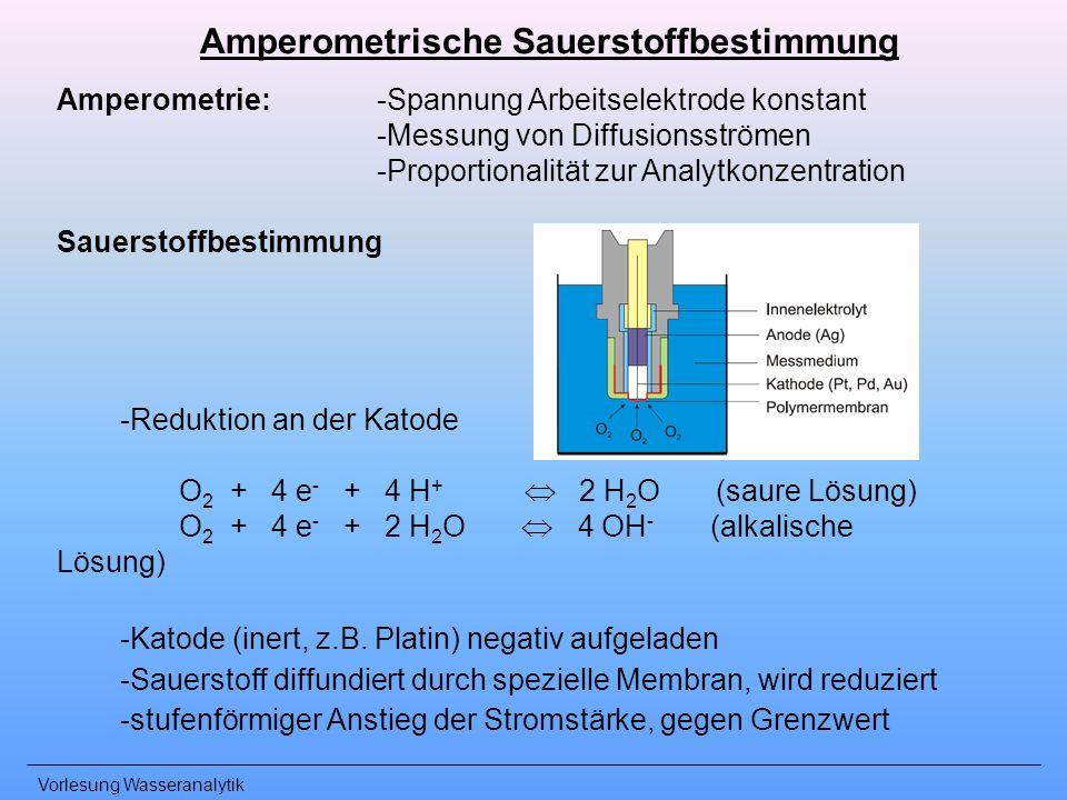 Vorlesung Wasseranalytik Amperometrie: -Spannung Arbeitselektrode konstant -Messung von Diffusionsströmen -Proportionalität zur Analytkonzentration Sa