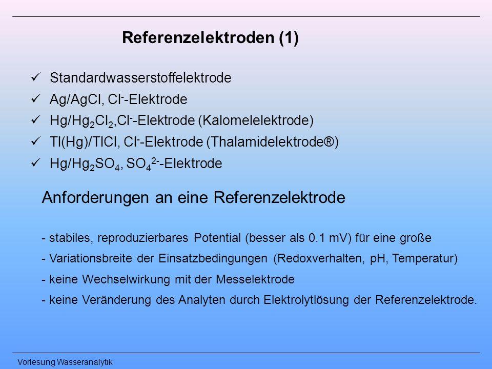 Vorlesung Wasseranalytik Referenzelektroden (1) Standardwasserstoffelektrode Ag/AgCl, Cl - -Elektrode Hg/Hg 2 Cl 2,Cl - -Elektrode (Kalomelelektrode)