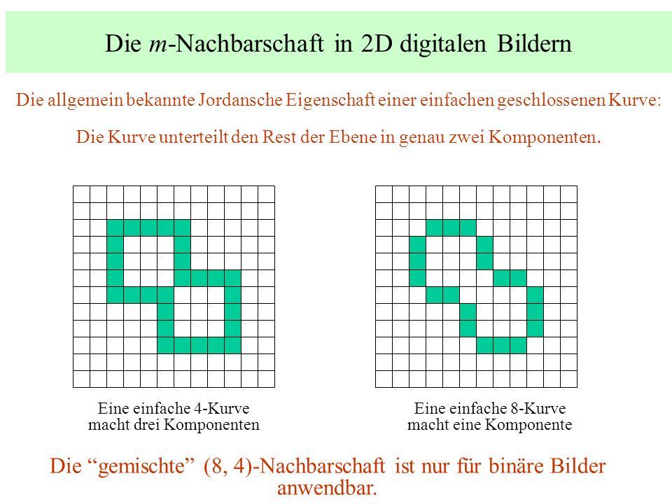 Die m-Nachbarschaft in 2D digitalen Bildern Eine einfache 4-Kurve macht drei Komponenten Eine einfache 8-Kurve macht eine Komponente Die allgemein bek