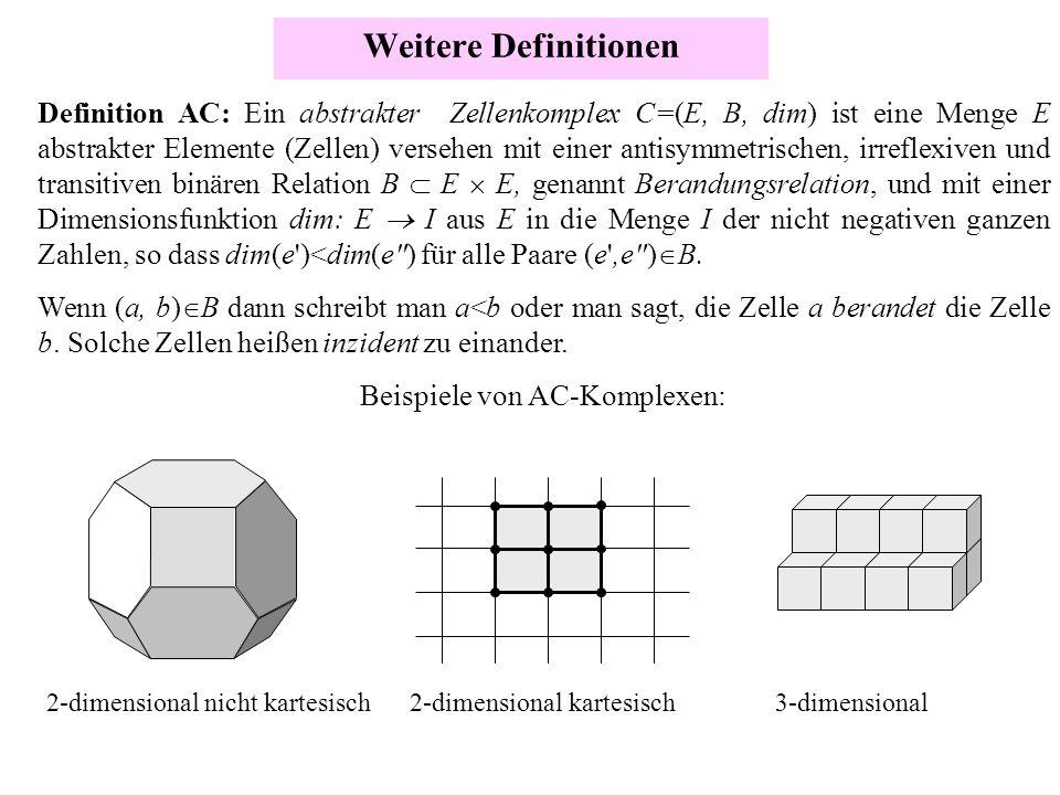 Weitere Definitionen Definition AC: Ein abstrakter Zellenkomplex C=(E, B, dim) ist eine Menge E abstrakter Elemente (Zellen) versehen mit einer antisy