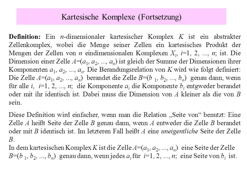 Kartesische Komplexe (Fortsetzung) Definition: Ein n-dimensionaler kartesischer Komplex K ist ein abstrakter Zellenkomplex, wobei die Menge seiner Zel