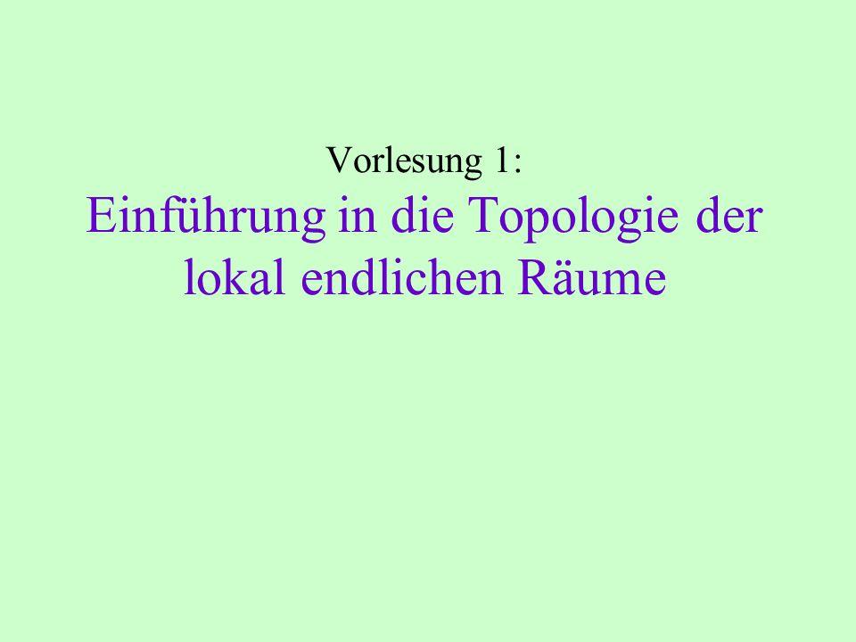 Vorlesung 1: Einführung in die Topologie der lokal endlichen Räume