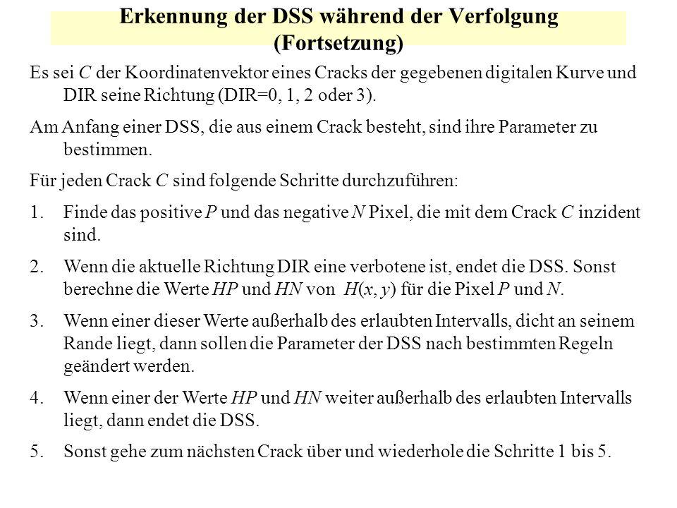 Erkennung der DSS während der Verfolgung (Fortsetzung) Es sei C der Koordinatenvektor eines Cracks der gegebenen digitalen Kurve und DIR seine Richtun