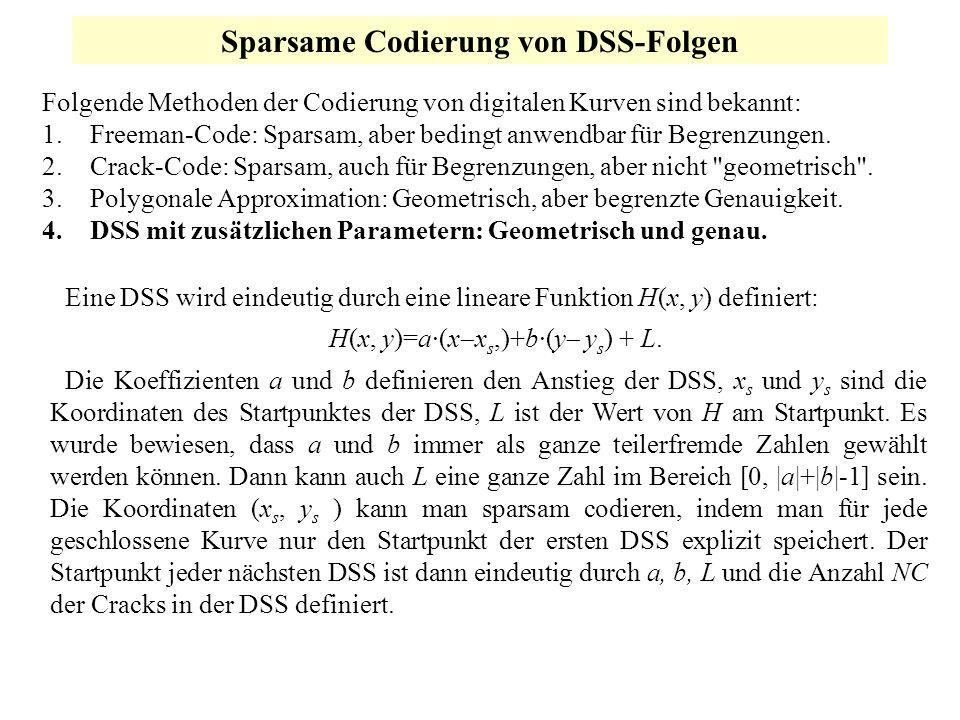 Sparsame Codierung von DSS-Folgen Folgende Methoden der Codierung von digitalen Kurven sind bekannt: 1.Freeman-Code: Sparsam, aber bedingt anwendbar f