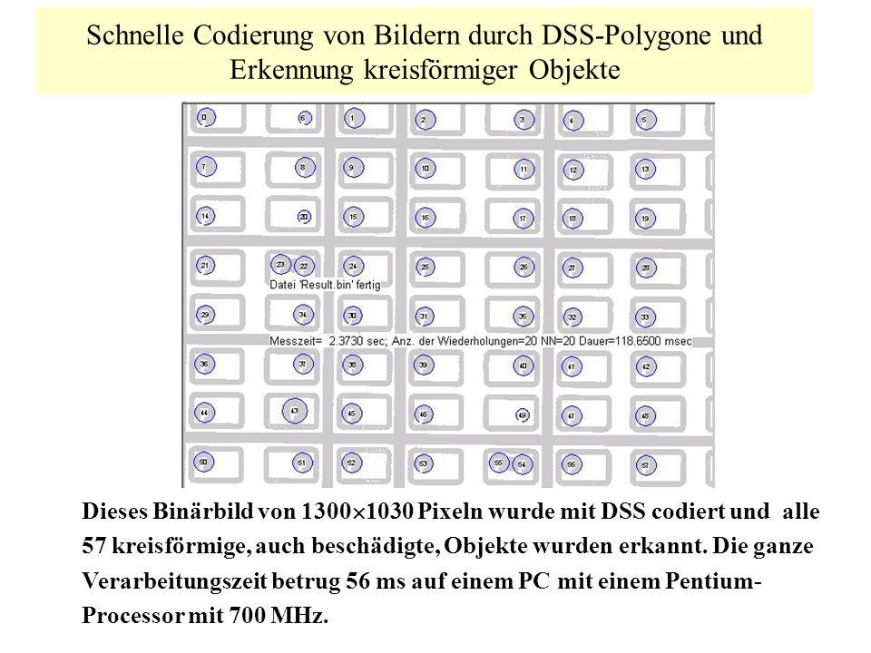 Schnelle Codierung von Bildern durch DSS-Polygone und Erkennung kreisförmiger Objekte Dieses Binärbild von 1300 1030 Pixeln wurde mit DSS codiert und