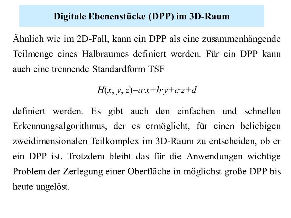 Ähnlich wie im 2D-Fall, kann ein DPP als eine zusammenhängende Teilmenge eines Halbraumes definiert werden. Für ein DPP kann auch eine trennende Stand