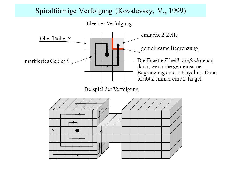 Spiralförmige Verfolgung (Kovalevsky, V., 1999) Idee der Verfolgung Beispiel der Verfolgung Die Facette F heißt einfach genau dann, wenn die gemeinsam