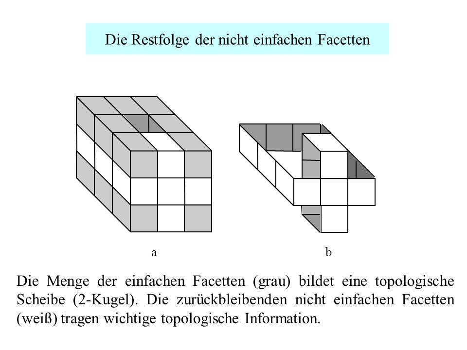 Die Restfolge der nicht einfachen Facetten двумерный шар. Множество непростых пикселей (показаны белым цветом) несёт всю топологическую информацию. ab