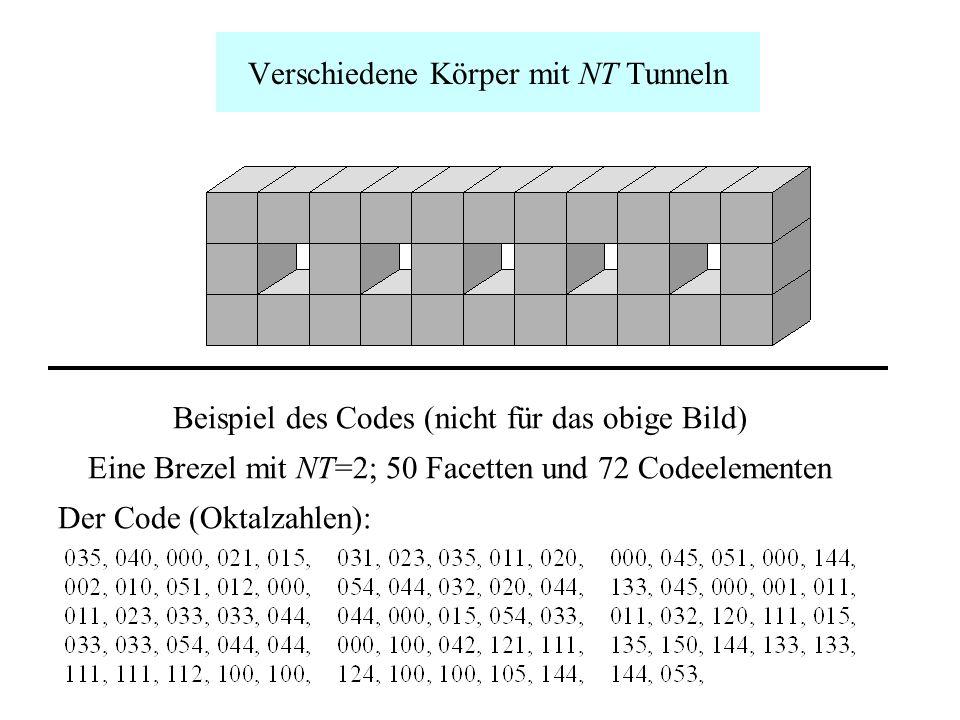 Verschiedene Körper mit NT Tunneln Beispiel des Codes (nicht für das obige Bild) Eine Brezel mit NT=2; 50 Facetten und 72 Codeelementen Der Code (Okta