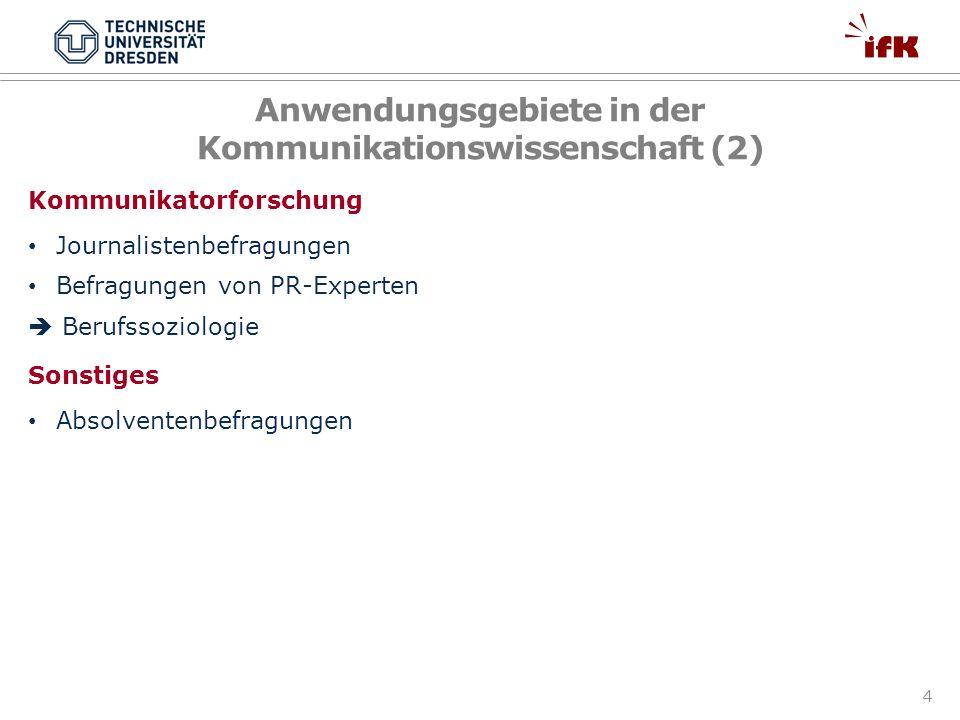 4 Anwendungsgebiete in der Kommunikationswissenschaft (2) Kommunikatorforschung Journalistenbefragungen Befragungen von PR-Experten Berufssoziologie S