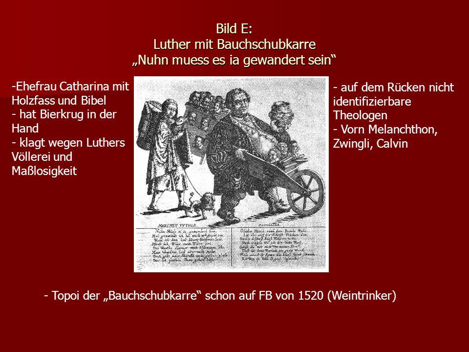 Bild E: Luther mit Bauchschubkarre Nuhn muess es ia gewandert sein - auf dem Rücken nicht identifizierbare Theologen - Vorn Melanchthon, Zwingli, Calv