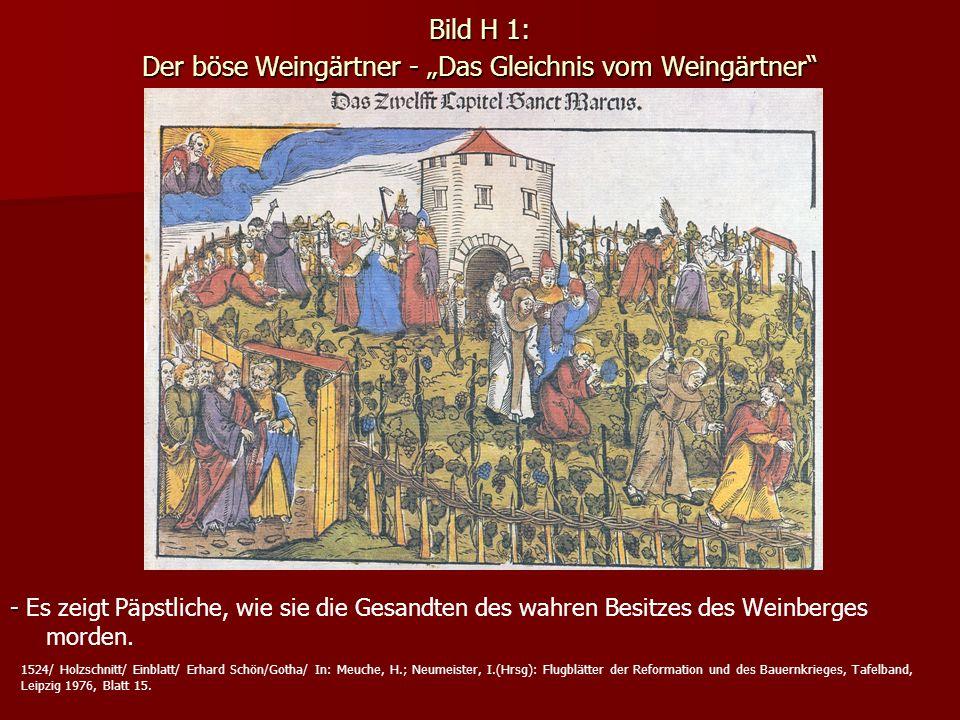 Bild H 1: Der böse Weingärtner - Das Gleichnis vom Weingärtner - - Es zeigt Päpstliche, wie sie die Gesandten des wahren Besitzes des Weinberges morde