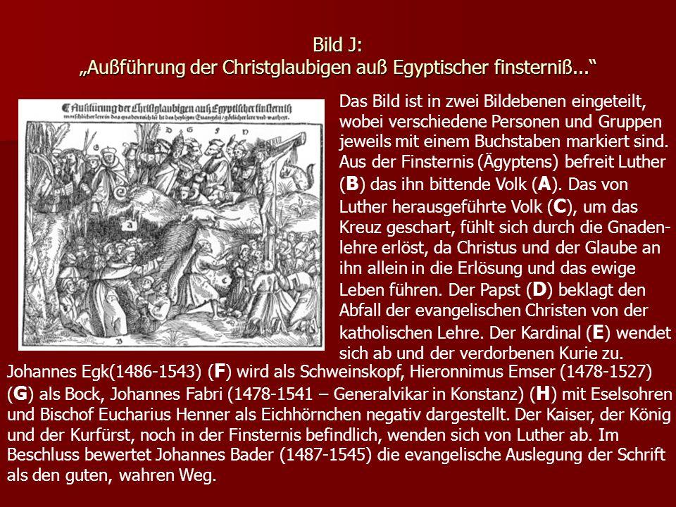 Bild J: Außführung der Christglaubigen auß Egyptischer finsterniß... Das Bild ist in zwei Bildebenen eingeteilt, wobei verschiedene Personen und Grupp