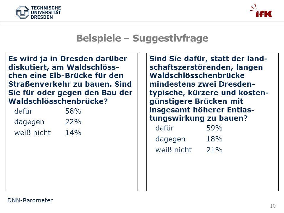 10 Es wird ja in Dresden darüber diskutiert, am Waldschlöss- chen eine Elb-Brücke für den Straßenverkehr zu bauen. Sind Sie für oder gegen den Bau der