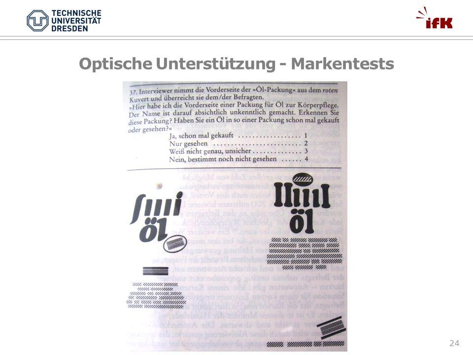 24 Optische Unterstützung - Markentests