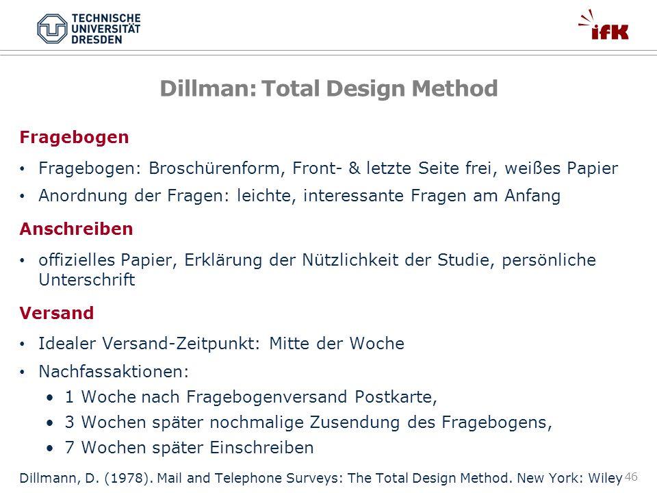 46 Dillman: Total Design Method Fragebogen Fragebogen: Broschürenform, Front- & letzte Seite frei, weißes Papier Anordnung der Fragen: leichte, intere