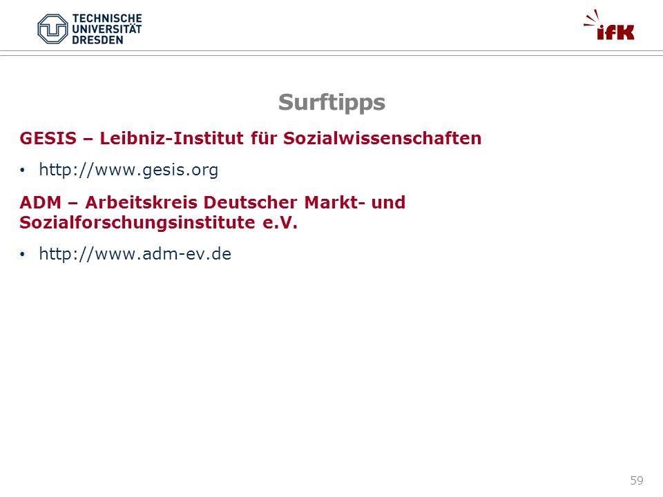 59 Surftipps GESIS – Leibniz-Institut für Sozialwissenschaften http://www.gesis.org ADM – Arbeitskreis Deutscher Markt- und Sozialforschungsinstitute
