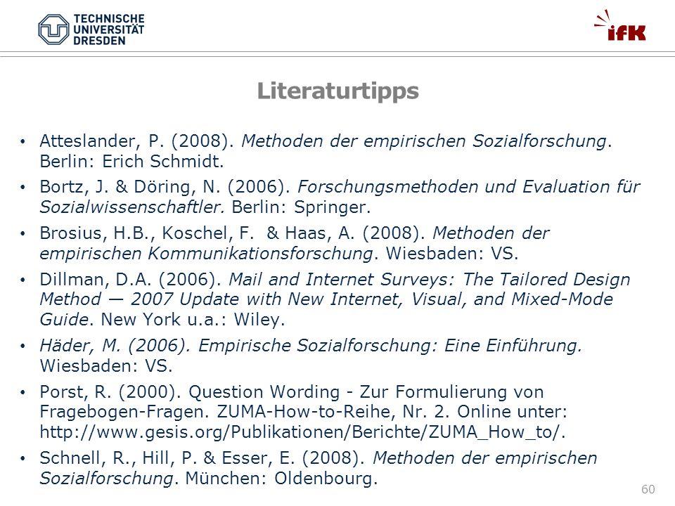 60 Literaturtipps Atteslander, P. (2008). Methoden der empirischen Sozialforschung. Berlin: Erich Schmidt. Bortz, J. & Döring, N. (2006). Forschungsme