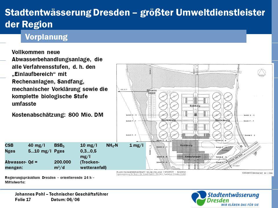 Stadtentwässerung Dresden – größter Umweltdienstleister der Region Johannes Pohl – Technischer Geschäftsführer Folie 17 Datum: 06/06 Vorplanung Vollkommen neue Abwasserbehandlungsanlage, die alle Verfahrensstufen, d.
