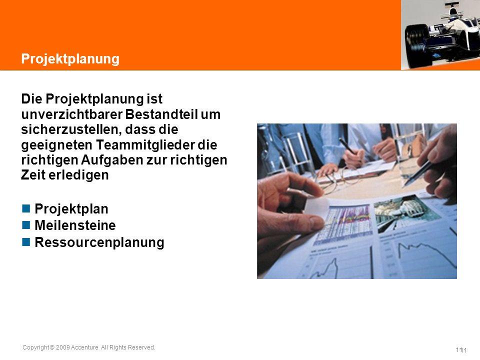 11 Copyright © 2009 Accenture All Rights Reserved. 11 Projektplanung Die Projektplanung ist unverzichtbarer Bestandteil um sicherzustellen, dass die g