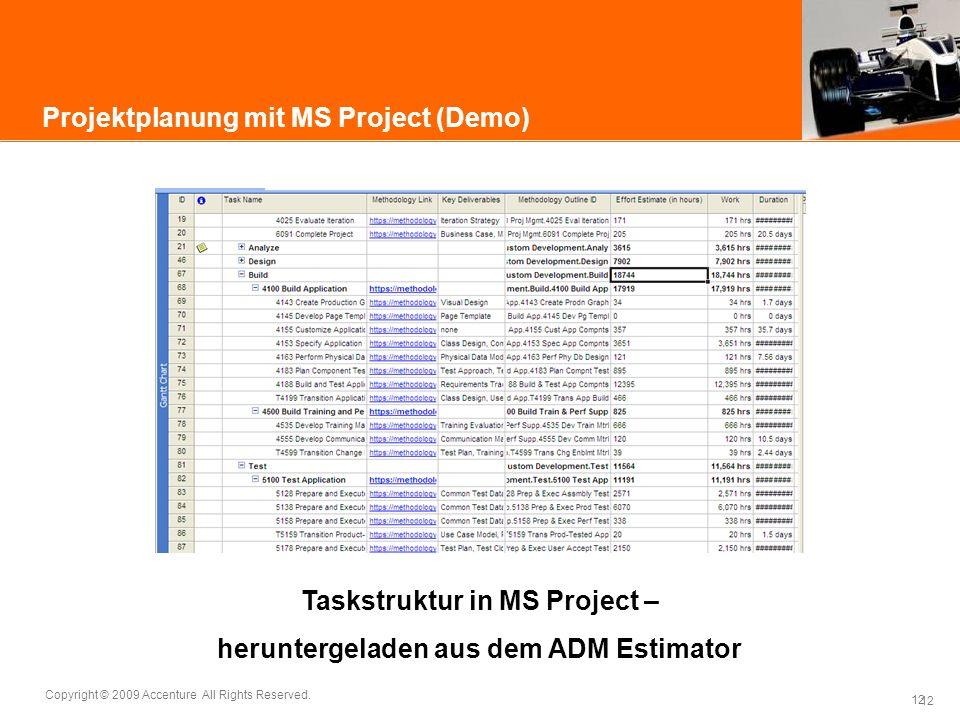 12 Copyright © 2009 Accenture All Rights Reserved. 12 Projektplanung mit MS Project (Demo) Taskstruktur in MS Project – heruntergeladen aus dem ADM Es